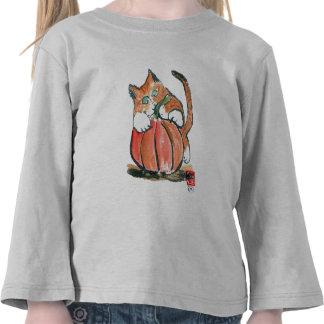 My Pumpkin Meows Tiger Kitten, Sumi-e T Shirt
