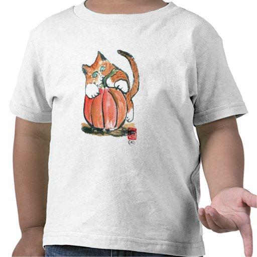 My Pumpkin Meows Tiger Kitten, Sumi-e T-shirts