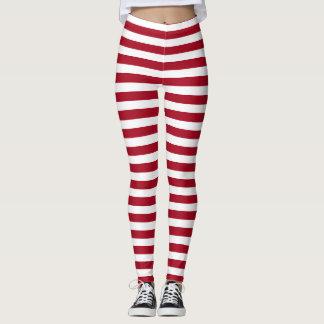 My Ragdoll ~ Red & White Stripes Leggings
