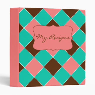 My Recipes Argyle Pattern Pink Turquoise Chocolate 3 Ring Binders