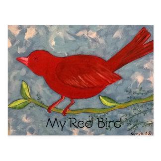 My Red Bird acrylic Painting Postcard