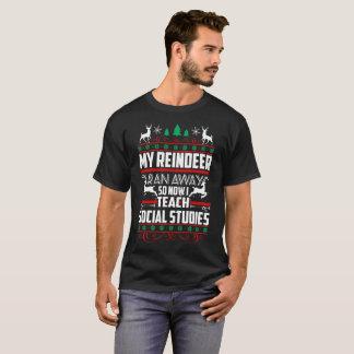 My Reindeer Ran Away So Now I Teach Social Studies T-Shirt