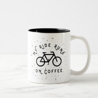 My Ride Runs on Coffee - Cyclist Two-Tone Coffee Mug
