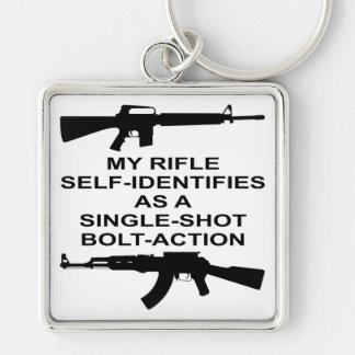 My Rifle Self Identifies As A Single Shot Bolt Act Keychain