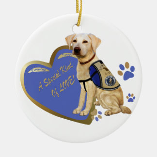 My Service Dog A Special Kind Of Love Lab Ceramic Ornament