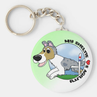 My Sheltie Loves Agility Keychain