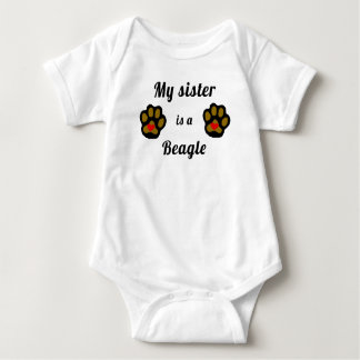 My Sister Is A Beagle Baby Bodysuit
