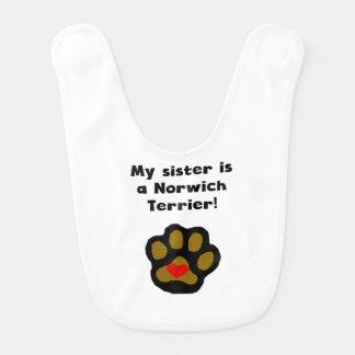 My Sister Is A Norwich Terrier Baby Bibs