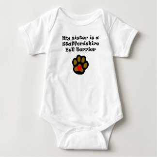 My Sister Is A Staffordshire Bull Terrier Baby Bodysuit