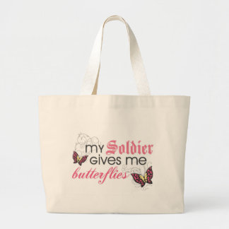 My Soldier Gives Me Butterflies Jumbo Tote Bag