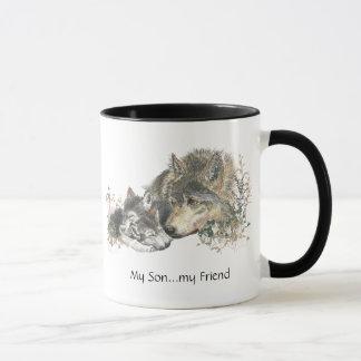 My Son...my Friend Watercolor Wolf Art Mug