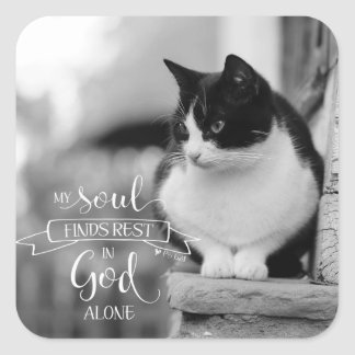 My Soul Finds Rest - Ps 62:1 Square Sticker