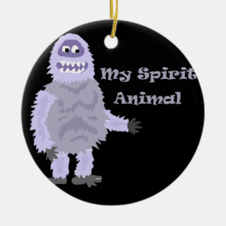 My Spirit Animal Abominable Snowman Cartoon Round Ceramic Ornament