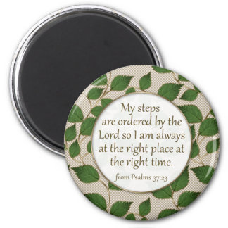 My Steps are Ordered: Green and Gold Leaf Design 2 Inch Round Magnet