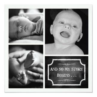 "My Story Begins Chalk Design Birth Announcement 5.25"" Square Invitation Card"