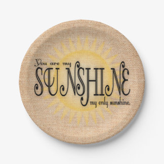 My Sunshine on Burlap Paper Plate