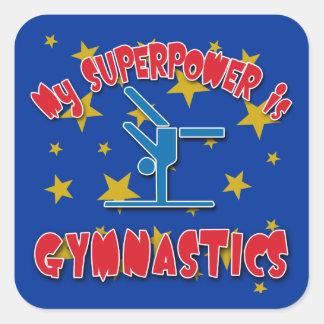 My Superpower is Gymnastics Square Sticker