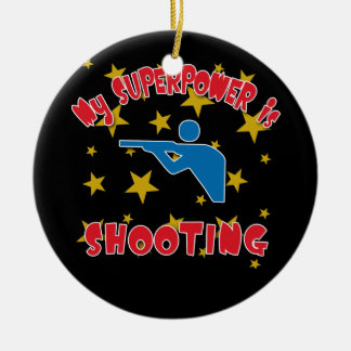 My Superpower is Shooting Ceramic Ornament