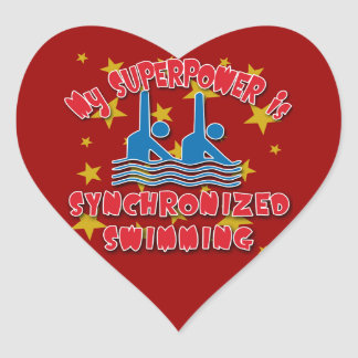 My Superpower is Synchronized Swimming Heart Stickers