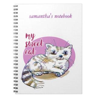 my sweet cat cartoon style illustration notebook