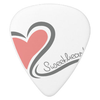 My Sweetheart Valentine White Delrin Guitar Pick