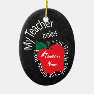 My Teacher Makes 1st Grade Rock | Chalkboard Ceramic Ornament