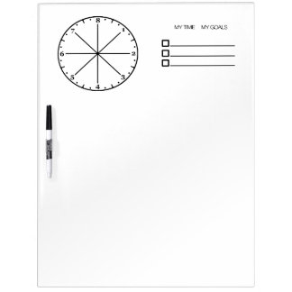 My Time My Goals - Eight Hour Clock Whiteboard (L) Dry Erase White Board