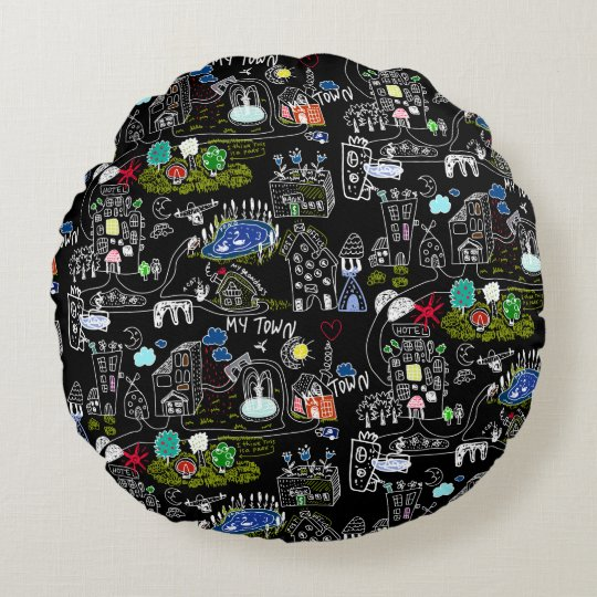 My town round pillow