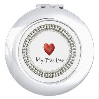 """ MY TRUE LOVE"" Round* Silver Ornate/RED HEART Makeup Mirror"