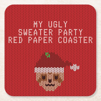 My Ugly Christmas Sweater Party Red Paper Coaster