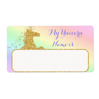 My Unicorn Name Is Label Rainbow & Gold Shipping Label