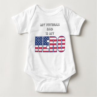 My Veteran Dad is My Hero w/ Your Custom Text Baby Bodysuit