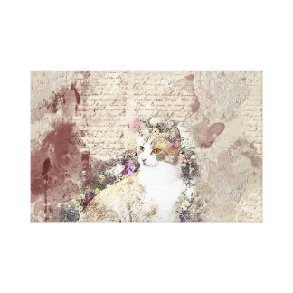 My Vintage Feline Friend Canvas Print