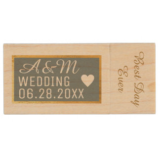 my wedding best photos wood USB flash drive