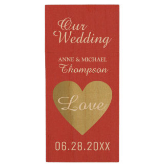 my wedding moments special photos, red wood USB flash drive