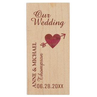 my wedding photos / love memories wood USB flash drive