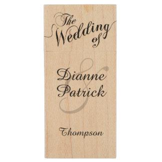 my wedding photos, monogram wood USB flash drive