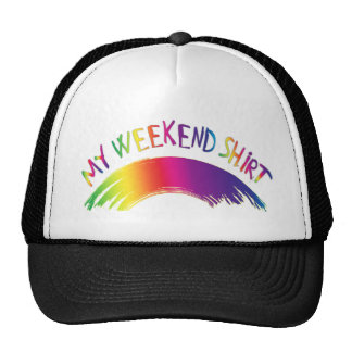 """My Weekend Shirt"" with Rainbow Trucker Hat"