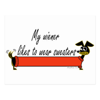 My Weiner Wears Sweaters Postcard