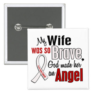 My Wife Is An Angel Lung Cancer 2 Inch Square Button