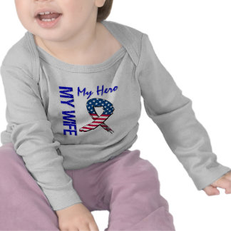 My Wife My Hero Patriotic Grunge Ribbon Shirt