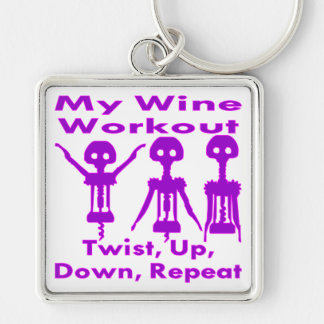 My Wine Workout Twist Up Down Repeat Keychain