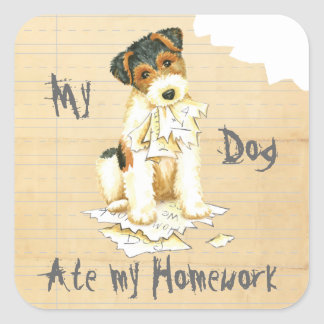 My Wire Fox Terrier Ate My Homework Square Sticker