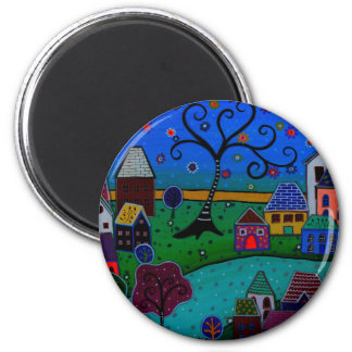 MY WONDERFUL WHIMSICAL TOWN 2 INCH ROUND MAGNET