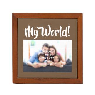 """My World"" - Family Photo on a Desk Organiser"