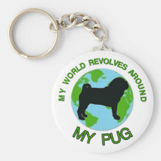MY WORLD REVOLVES AROUND MY PUG KEYCHAIN