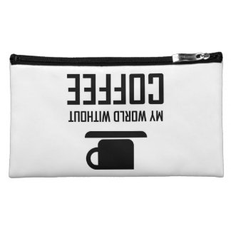 My World Without Coffee Upside Down Makeup Bag