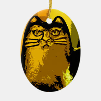 MY YELLOW CAT CERAMIC ORNAMENT