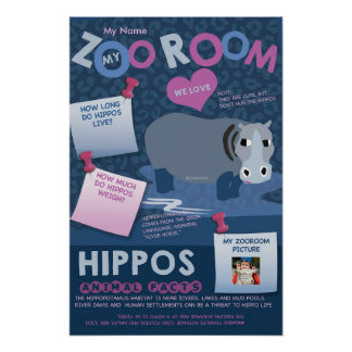 My ZooRoom Animal Poster-Hippo Poster