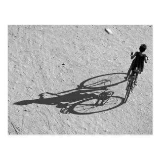 Myamar, Bagan, Young boy riding a huge bike and Postcard